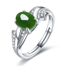 金兴福S925银镶满绿和田碧玉戒指(附证书)