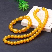母亲节礼物 盈满堂 天然黄玛瑙手链项链套装