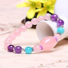 盈满堂 少女心系列-天然粉水晶配925银紫水晶单圈手链