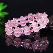 盈满堂 手工雕刻天然粉水晶貔貅手链