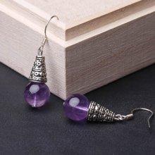 盈满堂 925银钩天然紫水晶耳环