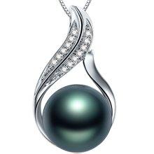 金兴福 畅美 18K金10-11mm大溪地黑珍珠钻石吊坠正圆强光附证书