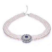 金兴福 宴会女王 6-7mm近圆优雅时尚珍珠项链潮流长款毛衣链