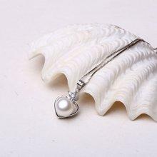 盈满堂 925银镶天然淡水珍珠心形吊坠送皮绳