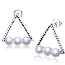 金兴福 明星款 精致简约4mm珍珠几何三角耳钉