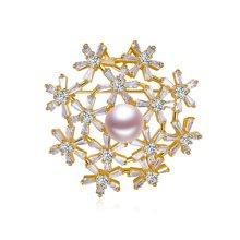 金兴福 名媛 9.5-10mm淡水珍珠优美时尚胸针可当吊坠一款两戴送银链  附证书