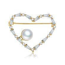 金兴福 心有所属 10-10.5mm时尚淡水珍珠胸针送女友礼物  附鉴定证书