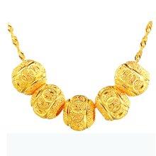 armasa 阿玛莎 s925银镀金转运珠项坠女短款时尚水波链锁骨项链 5珠s999021