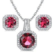 Lux-women-925银镶嵌套装(耳钉+吊坠)-高贵璀璨(红)(赠项链)