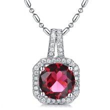 Lux-women-925银镶嵌吊坠-高贵璀璨(红)(赠项链)