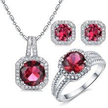 Lux-women-925银镶嵌套装(耳钉+吊坠+戒指)-高贵璀璨(红)(赠项链)
