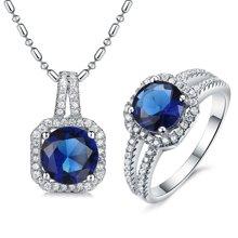 Lux-women-925银镶嵌套装(吊坠+戒指)-高贵璀璨(蓝)(赠项链)