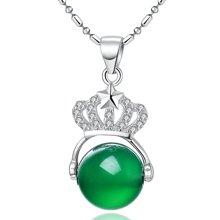 Lux-women-925银镶嵌绿玉髓吊坠-皇冠(附鉴定证书)