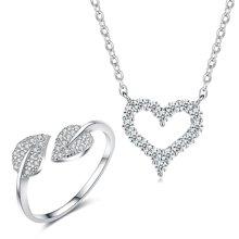 Lux-women-925银镶嵌套装-爱心花园(项链+戒指)