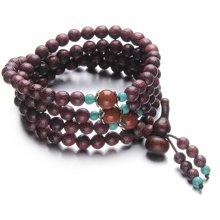 Lux-women-紫玫瑰金丝楠木6mm佛珠-吉祥