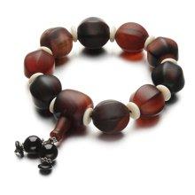 Lux-women-彩色玛瑙大珠男士手链-大福大贵(附鉴定证书)(红白黑棕色)