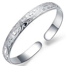 衡润 足银开口手镯 繁花 女款银镯子  送爱人送妈妈礼
