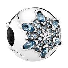 PANDORA 潘多拉 晶莹雪花925银混合石材固定夹串珠791997NMB(1)