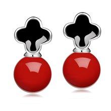 Lux-women-925银镶嵌贝珠耳坠-华丽(红)