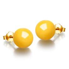 金兴福  简约优质S925银镶天然琥珀蜜蜡耳钉(附证书)