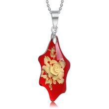 Lux-women 精雕花琥珀 吊坠 心之花 (赠链)