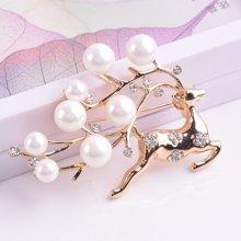 盈满堂时尚精美珍珠圣诞麋鹿胸针