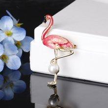 盈满堂时尚珍珠火烈鸟胸针