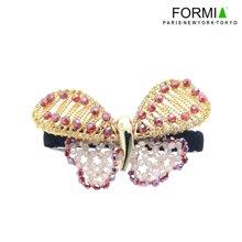 FORMIA芳美亚手工串珠水晶蝴蝶发夹顶夹弹簧夹横夹头饰发饰  红色