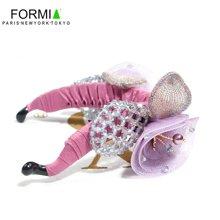 FORMIA芳美亚新款女韩版发夹立体花朵串珠竖夹布艺八字夹扭夹