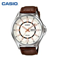 正品casio卡西欧手表男 新品石英表休闲皮带钢带腕表男MTP-E108