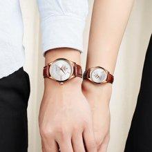 冠琴韩版潮流学生心形情侣手表 防水皮带休闲男女石英表一对价潮GL1314