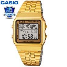 正品卡西欧 小金表复古电子表时尚潮流腕表男士女士石英手表金色