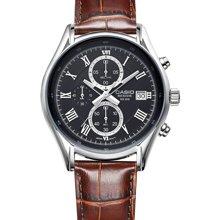 CASIO 卡西欧手表男 商务休闲 三眼 防水钢带皮带石英腕表BEM-512