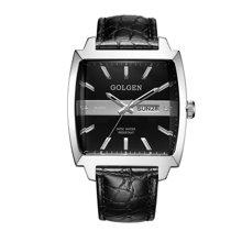 古尊(GOLGEN)手表 商务系列酒桶型石英男表黑色GN.19017M.PB
