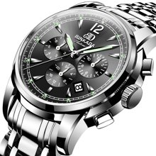 宾卡达正品男士手表机械表全自动精钢腕表休闲商务男表夜光防水2607G