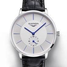 冠琴 男士手表休闲皮表带时尚腕表 超薄多功能商务精钢防水石英表BJ001