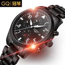 冠琴 品质男机械表 全自动精钢带碳纤维手表 防水夜光多功能军表GJ16012