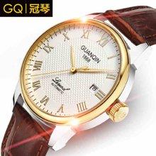 冠琴正品 男士防水全自动机械表 复古商务真皮手表带男表时装表GQ008828