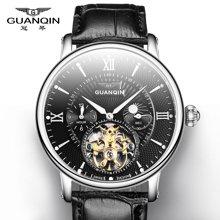 冠琴 男士手表全自动机械表 精钢防水夜光镂空飞轮皮表带男表潮表GJ16036