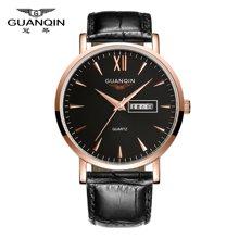 冠琴 正品男士手表精钢防水双日历石英表 商务时尚皮带腕表男表潮GS19033