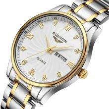 冠琴正品 超薄男士石英表 双日历防水夜光商务男士复古精钢带手表GQ80007-6A