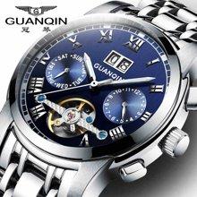 冠琴 男士手表全自动机械手表 精钢夜光防水飞轮镂空多功能男表潮GJ16031