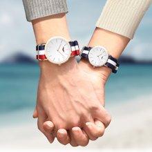 冠琴 英伦简约时尚石英表正品情侣手表尼龙表带情侣腕表男女对表GS19049