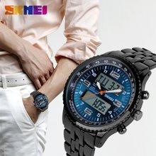 时刻美商务休闲男表防水电子双显时尚潮流个性复古大表盘男士腕表1032