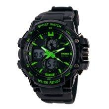 时刻美双显手表 男士户外运动登山防水电子表 男学生多功能时尚潜水腕表(小号)0990