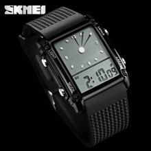 时刻美双显男士防水手表男女学生电子手表复古手表时尚运动果冻表4194