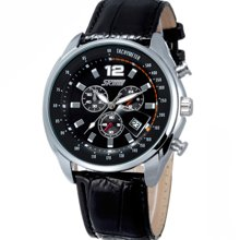 时刻美男士时尚大表盘日历 防水皮带学生手表商务石英表复古手表6852