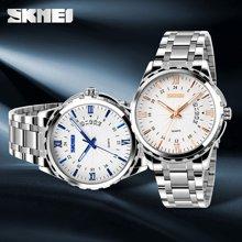 时刻美潮流时尚商务休闲经典复古男士防水日历石英钢表手表9069