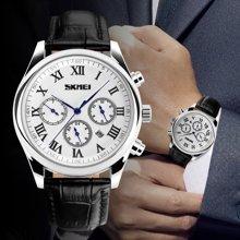 时刻美潮流时尚男表皮带防水石英简约英伦风商务手表男士指针腕表9078