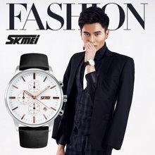 时刻美男士六针石英手表防水时尚商务男表多功能英伦风大表盘腕表9103